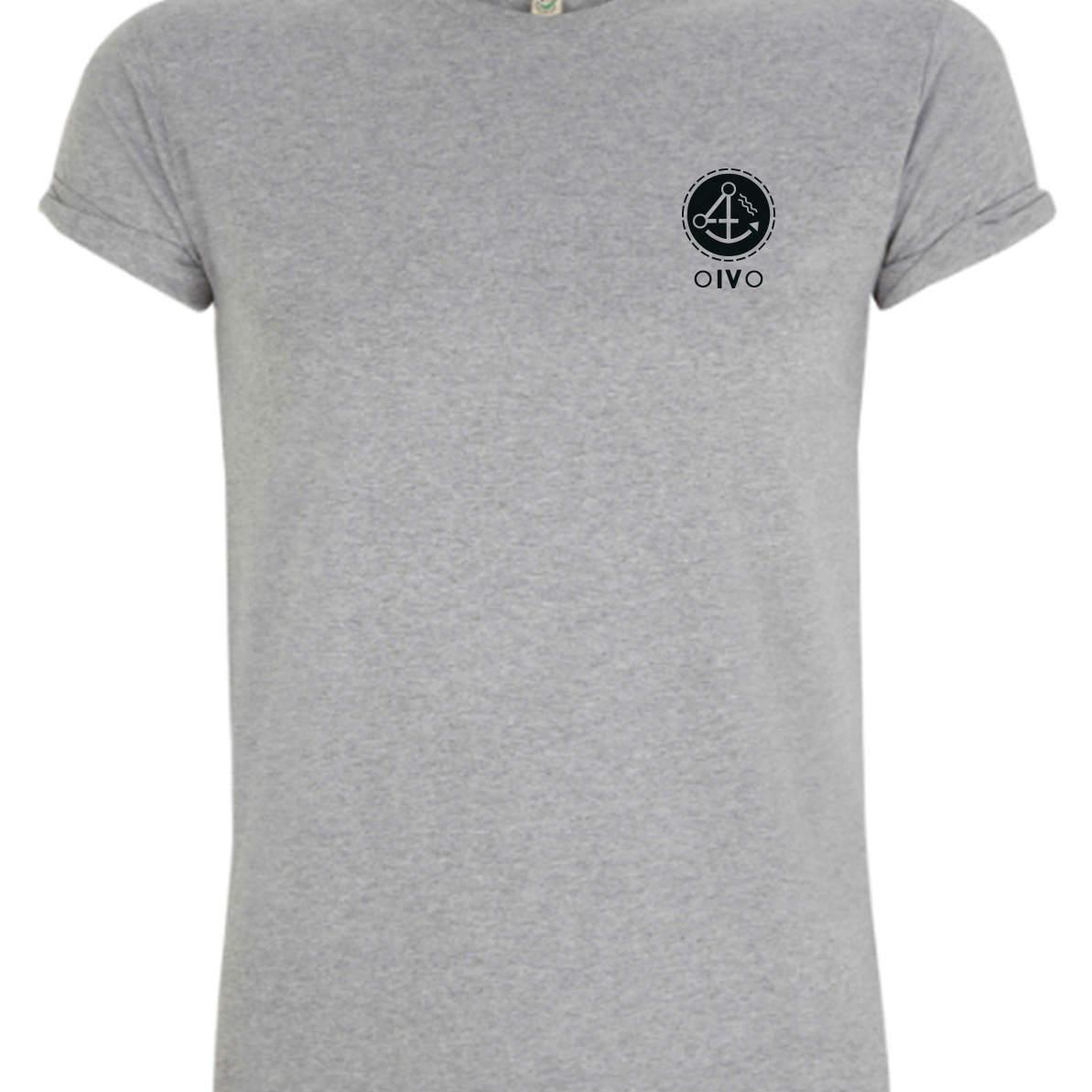 Graues T-Shirt mit schwarzen OIVO Logo auf der Brust