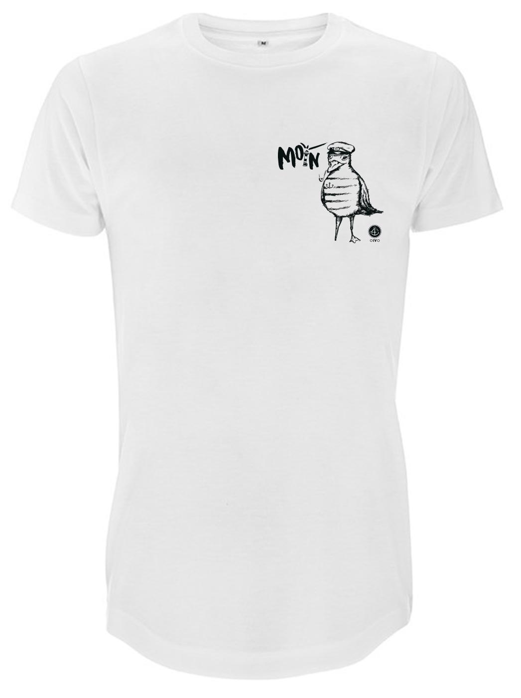 Weißes T-Shirt mit Moewe und Schriftzug Moin